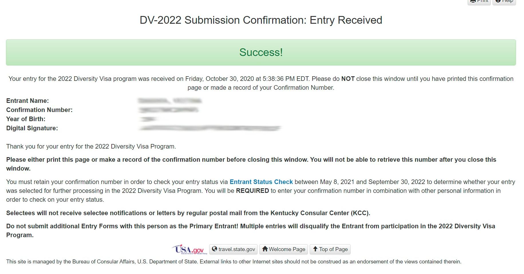 Подтверждение получения заявки на визу в США